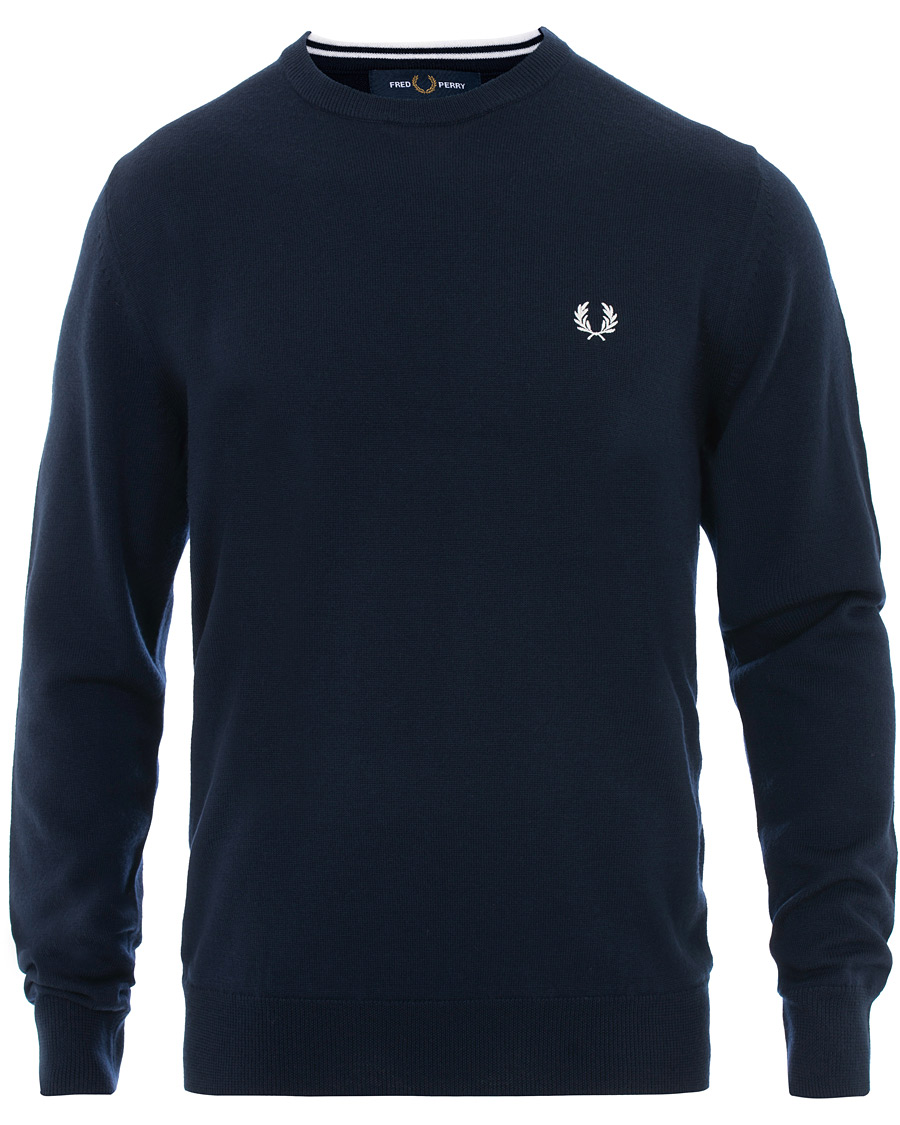 Fred Perry Merino Wool Crew Neck Pullover Carbon Blue S