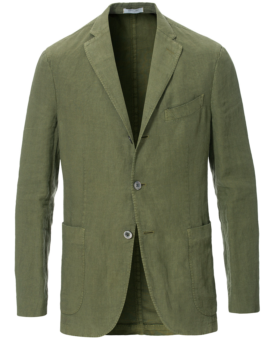 Boglioli K Jacket Linen Blazer Forest Green Bei Careofcarl De